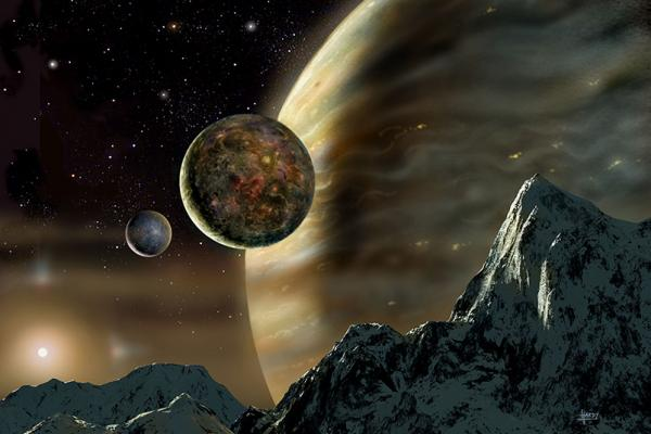 Artists Conception of planets around star HD 70642
