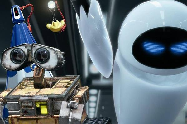 A picture depicting WALL-E and Eve
