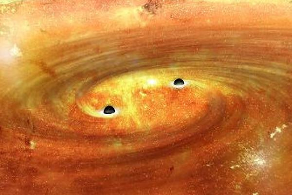 Binary Supermassive Black Holes (ALMA Observatory Graphic)